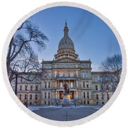 Round Beach Towel featuring the photograph Michigan State Capitol by Nicholas Grunas