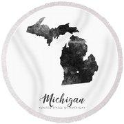 Michigan State Map Art - Grunge Silhouette Round Beach Towel