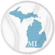 Michigan State Map With Text Of Constitution Round Beach Towel by Design Turnpike