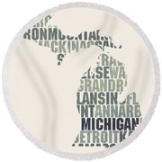 Michigan State Outline Word Map Round Beach Towel