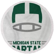 Michigan State Spartans Vintage Art Round Beach Towel by Joe Hamilton