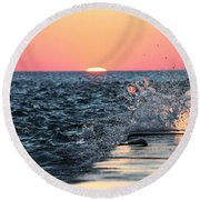 Michigan Summer Sunset Round Beach Towel