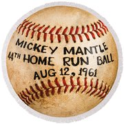 Mickey Mantle 44th Home Run Baseball August 12 1961 Round Beach Towel