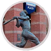 Mickey Mantle Round Beach Towel by Frozen in Time Fine Art Photography