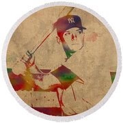 Mickey Mantle New York Yankees Baseball Player Watercolor Portrait On Distressed Worn Canvas Round Beach Towel by Design Turnpike