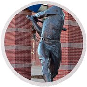 Mickey Mantle Plaza Round Beach Towel by Frozen in Time Fine Art Photography