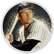 Mickey Mantle Round Beach Towel by Taylan Apukovska