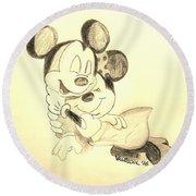 Mickey Minnie Cuddle Buddies - Sepia Round Beach Towel by Scott D Van Osdol