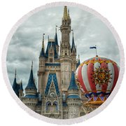 Round Beach Towel featuring the photograph Mickey Mouse Disney House by Nikki McInnes