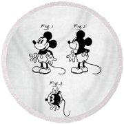 Mickey Mouse Patent Round Beach Towel by Taylan Apukovska