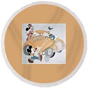 Micky,minnie And Donald On Car Round Beach Towel