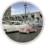 Round Beach Towel featuring the photograph Micro Car And Cadillac by Martin Konopacki Restoration