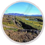 Mid-atlantic Rise In Thingvellir, Iceland Round Beach Towel by Allan Levin