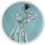 Mid-century Mode -- Drawing Of 1950's Fashion Round Beach Towel