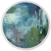 Round Beach Towel featuring the painting Mid-day Reflection by Michal Mitak Mahgerefteh