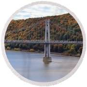 Mid Hudson Bridge In Autumn Round Beach Towel