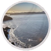 Mid Morning View Of The Downtown San Franscisco Over The Golden  Round Beach Towel