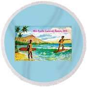 Mid Pacific Carnival Hawaii Surfing 1915 Round Beach Towel