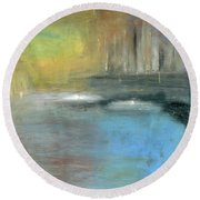 Round Beach Towel featuring the painting Mid-summer Glow by Michal Mitak Mahgerefteh