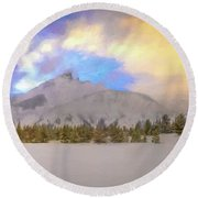 Mid-winter Sunset Round Beach Towel