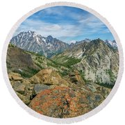 Round Beach Towel featuring the photograph Midday At Iron Peak by Ken Stanback