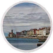 Round Beach Towel featuring the photograph Midday In Piran - Slovenia by Stuart Litoff