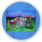 Middle Age Birthday Card Round Beach Towel by Thomas Blood
