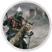 Middle Ages Knight Round Beach Towel
