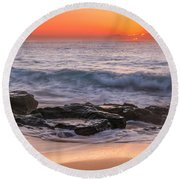 Middle Beach Sunrise Round Beach Towel