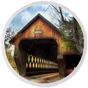Round Beach Towel featuring the photograph Middle Covered Bridge - Woodstock Vermont by Joann Vitali