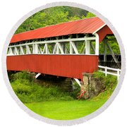Middle Creek Township Covered Bridge Round Beach Towel