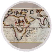 Middle Earth Map - Vintage Round Beach Towel by Pg Reproductions