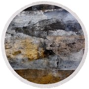 Round Beach Towel featuring the painting Middle Earth by Nancy Kane Chapman