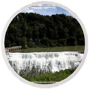 Middle Falls In Rochester New York Round Beach Towel