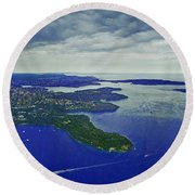 Middle Head And Sydney Harbour Round Beach Towel