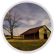 Round Beach Towel featuring the photograph Midnight At The Mule Barn by George Randy Bass