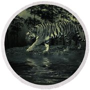 Midnight At The Oasis Round Beach Towel