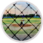Round Beach Towel featuring the photograph Midnight Baseball by Benjamin Yeager