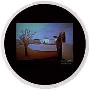 Round Beach Towel featuring the painting Midnight Basic  Bill Oconnor by Bill OConnor