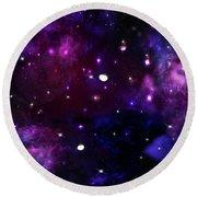 Midnight Blue Purple Galaxy Round Beach Towel