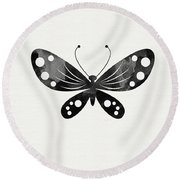 Midnight Butterfly 3- Art By Linda Woods Round Beach Towel