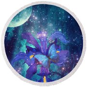 Round Beach Towel featuring the digital art Midnight Butterfly by Mo T