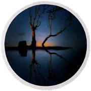 Round Beach Towel featuring the photograph Midnight Dance Of The Trees by Mark Andrew Thomas