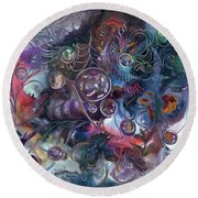 Midnight Dancing Bubbles Round Beach Towel