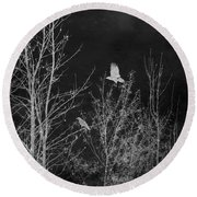 Midnight Flight Silhouette Bw Round Beach Towel