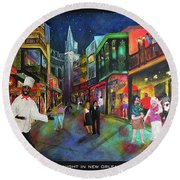 Midnight In New Orleans Round Beach Towel