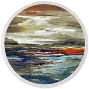 Round Beach Towel featuring the painting Midnight In The Keys by Tatiana Iliina