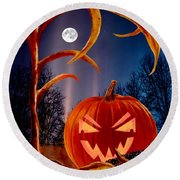 Midnight Jack-o-lantern Round Beach Towel