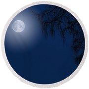 Midnight Moon And Night Tree Silhouette Round Beach Towel