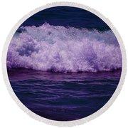 Midnight Ocean Wave In Ultra Violet Round Beach Towel